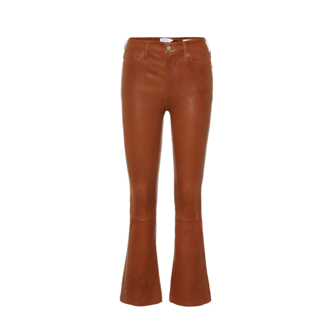 Crop flared leather pant