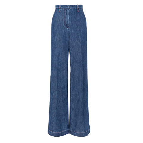Chambray effect denim flared pants