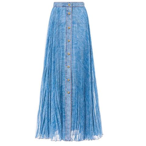 Denim effect chiffon skirt