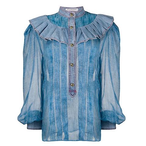 Jeans chiffon blouse